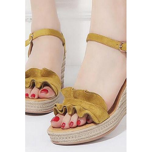 1466049c3e48 Plain High Heeled Velvet Ankle Strap Peep Toe Date Outdoor Wedge Sandals
