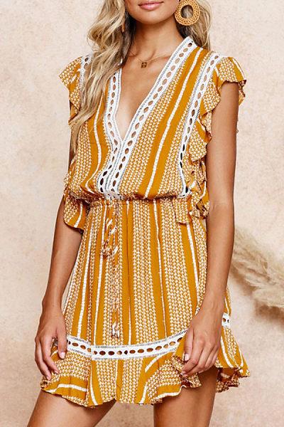 V Neck  Striped Casual Dresses