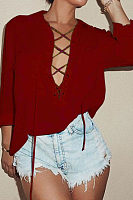 Deep V Neck  Lace Up Patch Pocket  Plain  Blouses