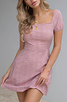 Square Neck  Backless  Gingham  Short Sleeve Casual Dresses