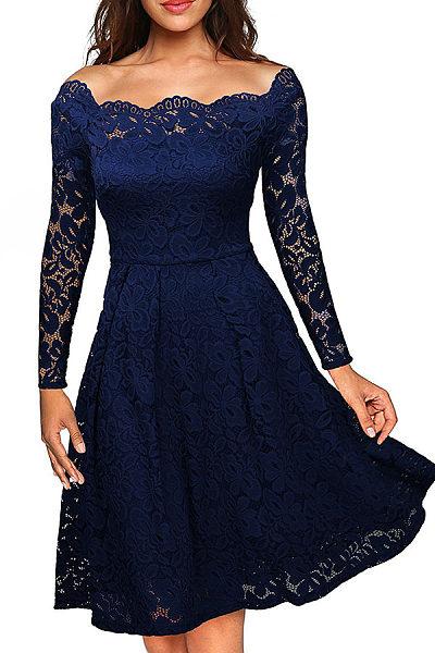 Open Shoulder  Patchwork  Plain  Long Sleeve Party Dresses
