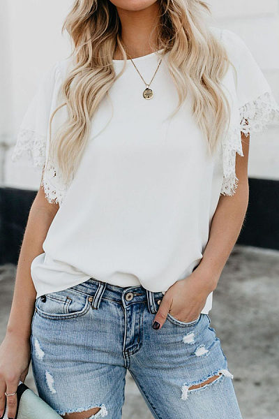 Summer Solid Color Flying Sleeve Lace Split Joint Blouses