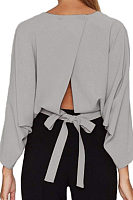 Round Neck  Backless  Plain  Batwing Sleeve  Blouses