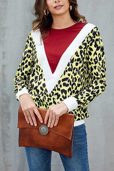 Women Round Neck Leopard Color Matching T-shirt