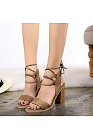 Bow Lace Up Chunky Criss Cross Elegant Round Toe Heels