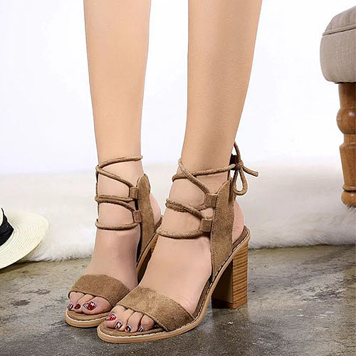 Bow Lace Up Chunky Criss Cross Elegant Round Toe Heels