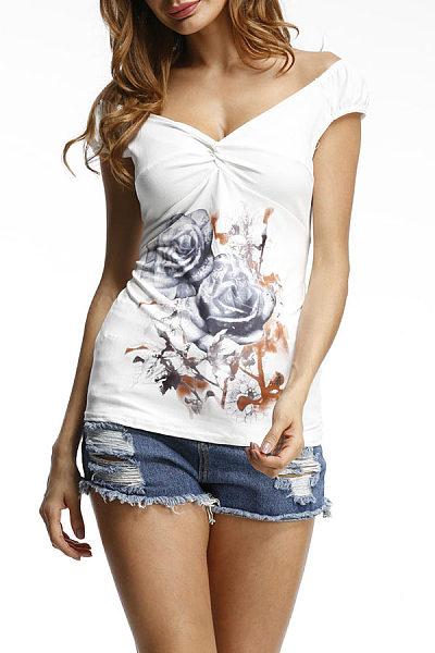 V Neck  Patchwork  Floral Printed T-Shirts