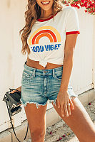 Round Neck Color Block Printed Short Sleeve T-Shirts