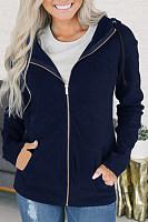 Hooded  Zipper  Plain Jackets