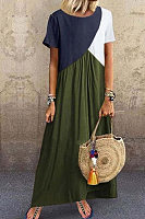 Plus Size  Stitching Color Short Sleeved Maxi Dress