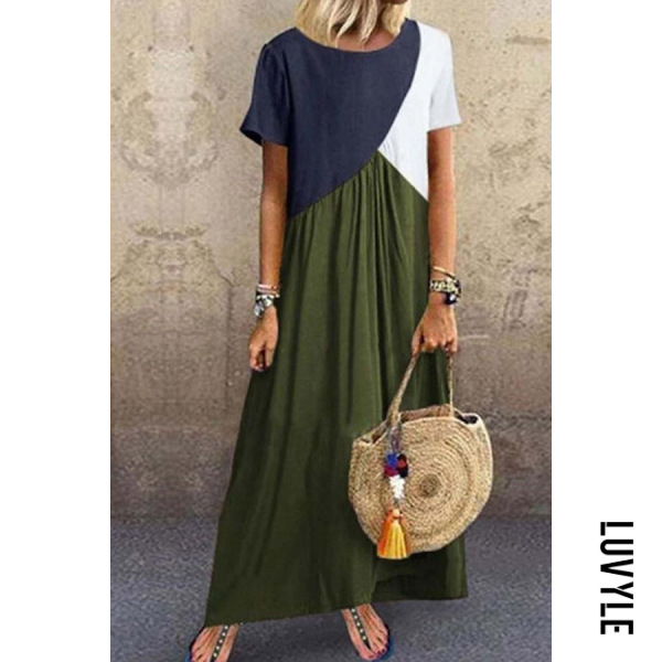 Green Plus Size Stitching Color Short Sleeved Maxi Dress Green Plus Size Stitching Color Short Sleeved Maxi Dress