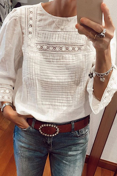 Round Neck Long Sleeve Lace Blouse