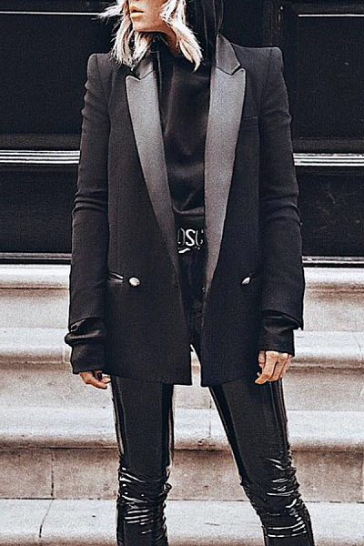Fashion Fur Collar Long Sleeve Blazer