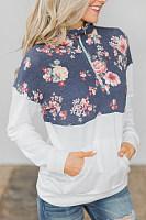 Fold Over Collar  Zipper  Print  Sweatshirts