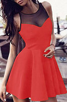 Round Neck  Patchwork  Sleeveless Skater Dresses