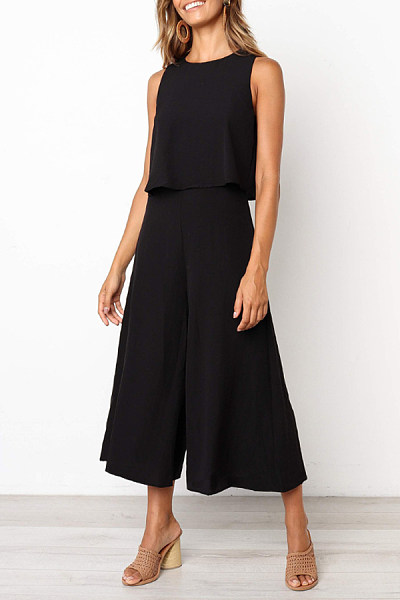 Round Neck Sleeveless Jumpsuits