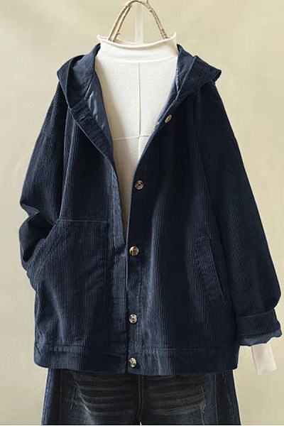 Hooded Single Breasted Casual Outerwear