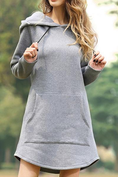 Casual Long Sleeve Plain Hoody