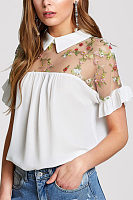 Turn Down Collar  See Through  Embroidery Patchwork  Blouses