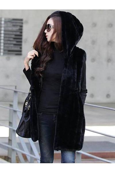 Hooded Drawstring Plain Striped Faux Fur Sleeveless Coat