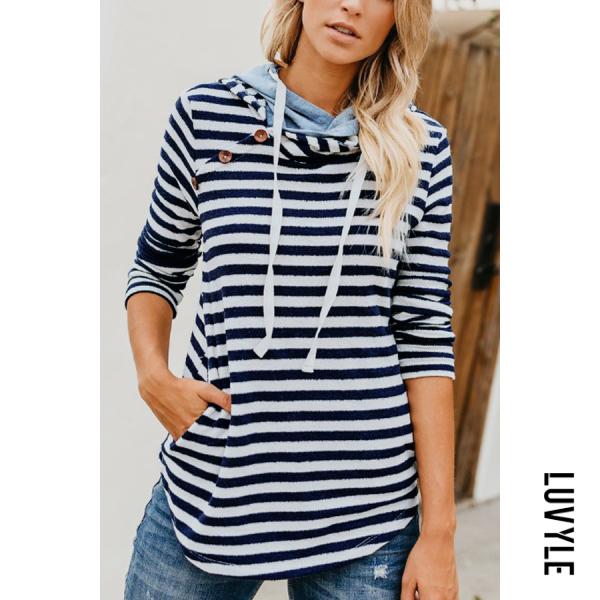 Blue Hooded Drawstring Striped Basic Hoodies Blue Hooded Drawstring Striped Basic Hoodies