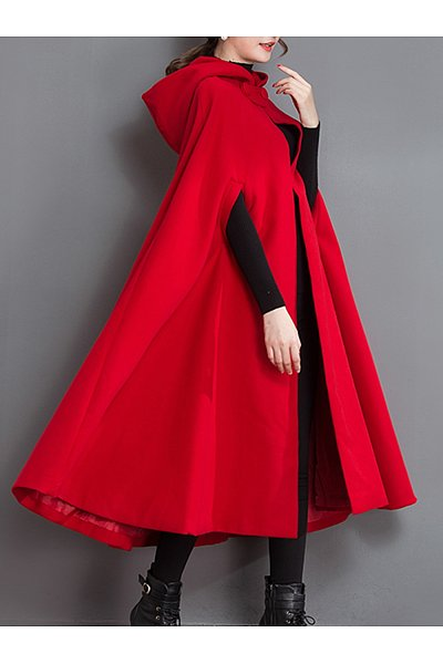 Longline Hooded Plain Woolen Cape Sleeve Coat