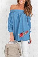 Off Shoulder  Asymmetric Hem  Embroidery  Blouses