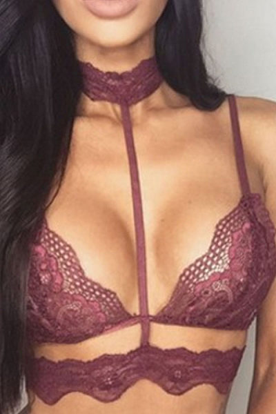 Halter  Hollow Out Plain Bra