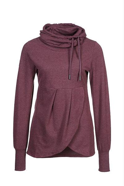 Pile of collars irregular front long sleeve sweatshirt