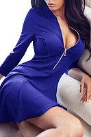 Blue Sexy V-neck zipper Skater Mini Dress