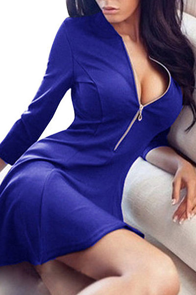 Blue Sexy V-neck zipper Skater Mini Dress