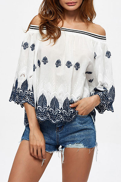 Strapless  Backless Loose Fitting Scalloped Hem  Smocked Bodice  Embroidery Blouses