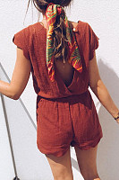 Fashion Solid Color Backless Short Sleeve Playsuit