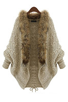 Charming Faux Fur Collar  Lace-Up  Batwing Sleeve Cardigans