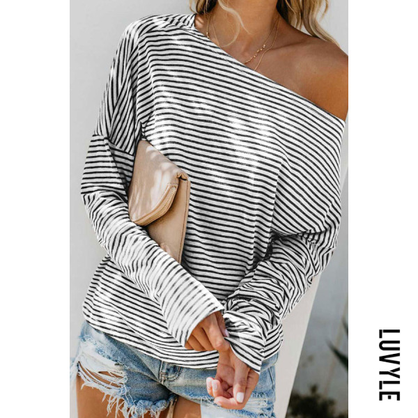 Stripe One Shoulder Striped Batwing Sleeve T-Shirts Stripe One Shoulder Striped Batwing Sleeve T-Shirts