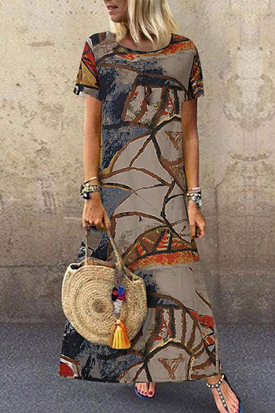 Casual Round Neck Floral Pattern Dress