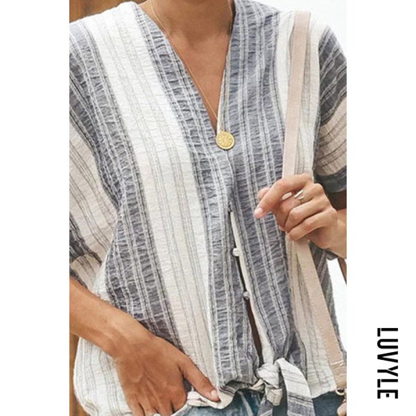Fashionable Irregular Cotton Linen Striped Blouse