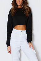 Round Neck  Exposed Navel  Plain  Batwing Sleeve Sweatshirts