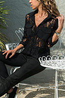 Lapel Lace Chiffon Patchwork Pocket Long Sleeve Elegant Blouses