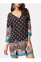 V-Neck  Tassel  Printed Shift Dress
