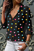 Fold Over Collar Dot Blouses