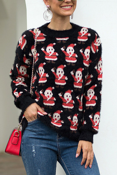 Christmas Printed Round Neck Casual Sweater