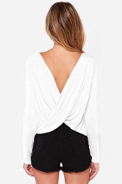 Round Neck  Backless  Plain T-Shirts