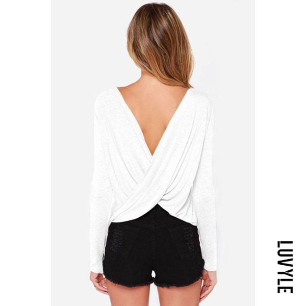 White Round Neck Backless Plain T-Shirts White Round Neck Backless Plain T-Shirts