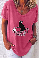 Casual V-Neck Cat Print Short Sleeve T-Shirt