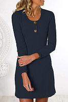 Casual Round Neck Decorative Buttons Plain Dress