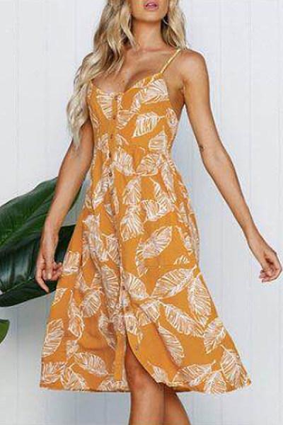 Spaghetti Strap  Single Breasted  Print Maxi Dresses