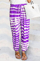 Fashion - Stripe tie-dye print fading casual pants for women