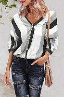 V-Neck Wide Striped Shirt Female Fashion Half Sleeve Blouses