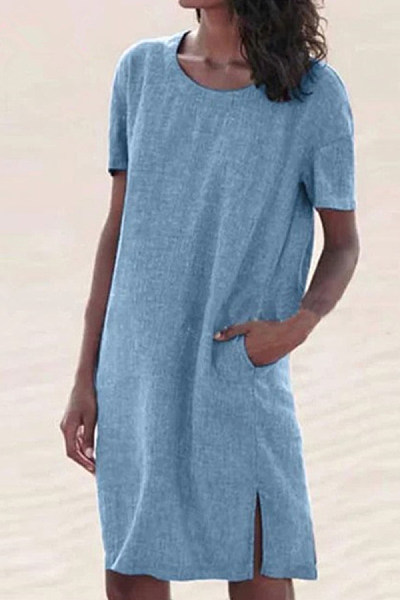 Plus Size Solid Color Round Neck Cotton And Linen Mini Dress